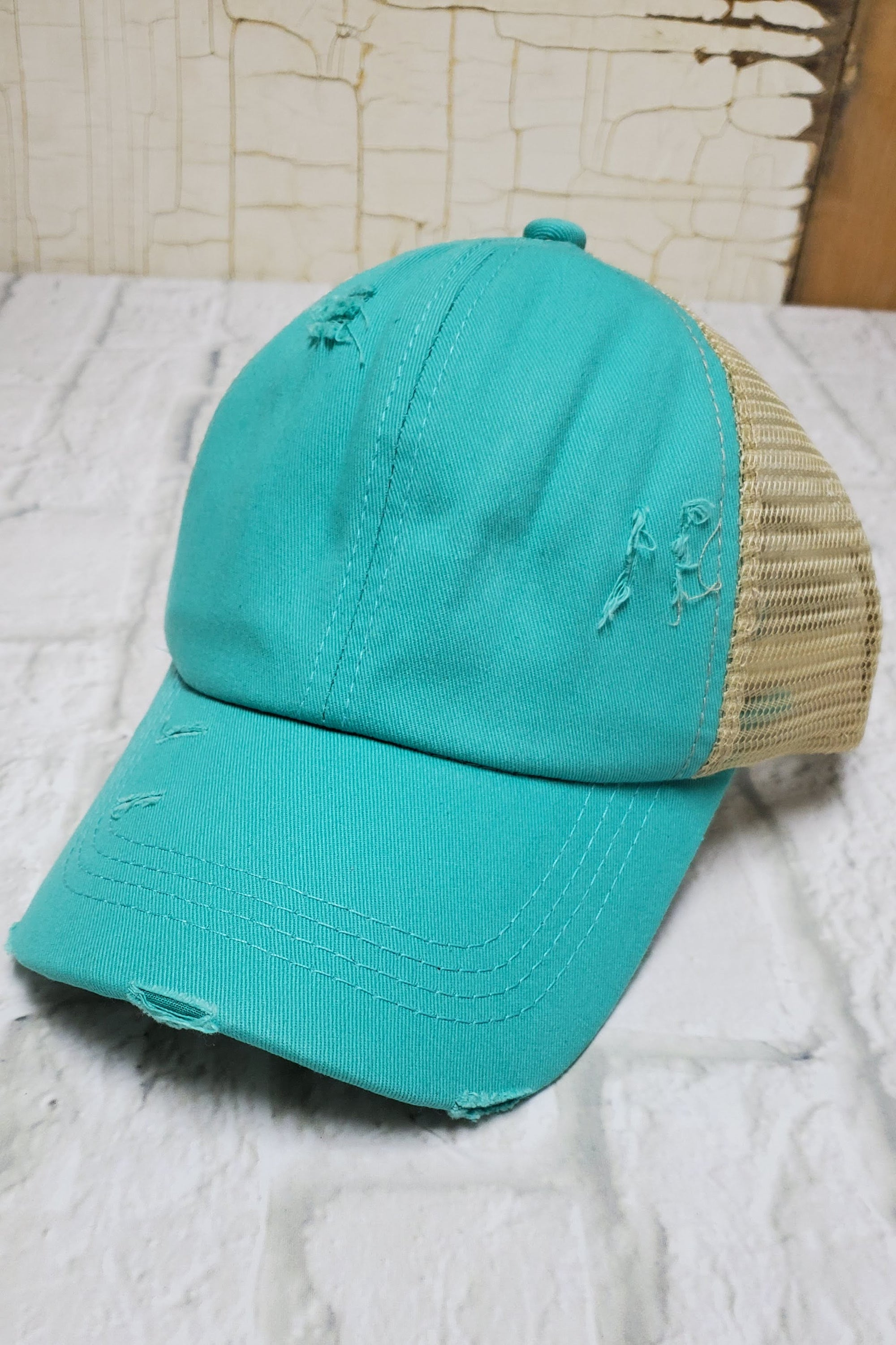 Criss-Cross Turquoise High Ponytail Hat