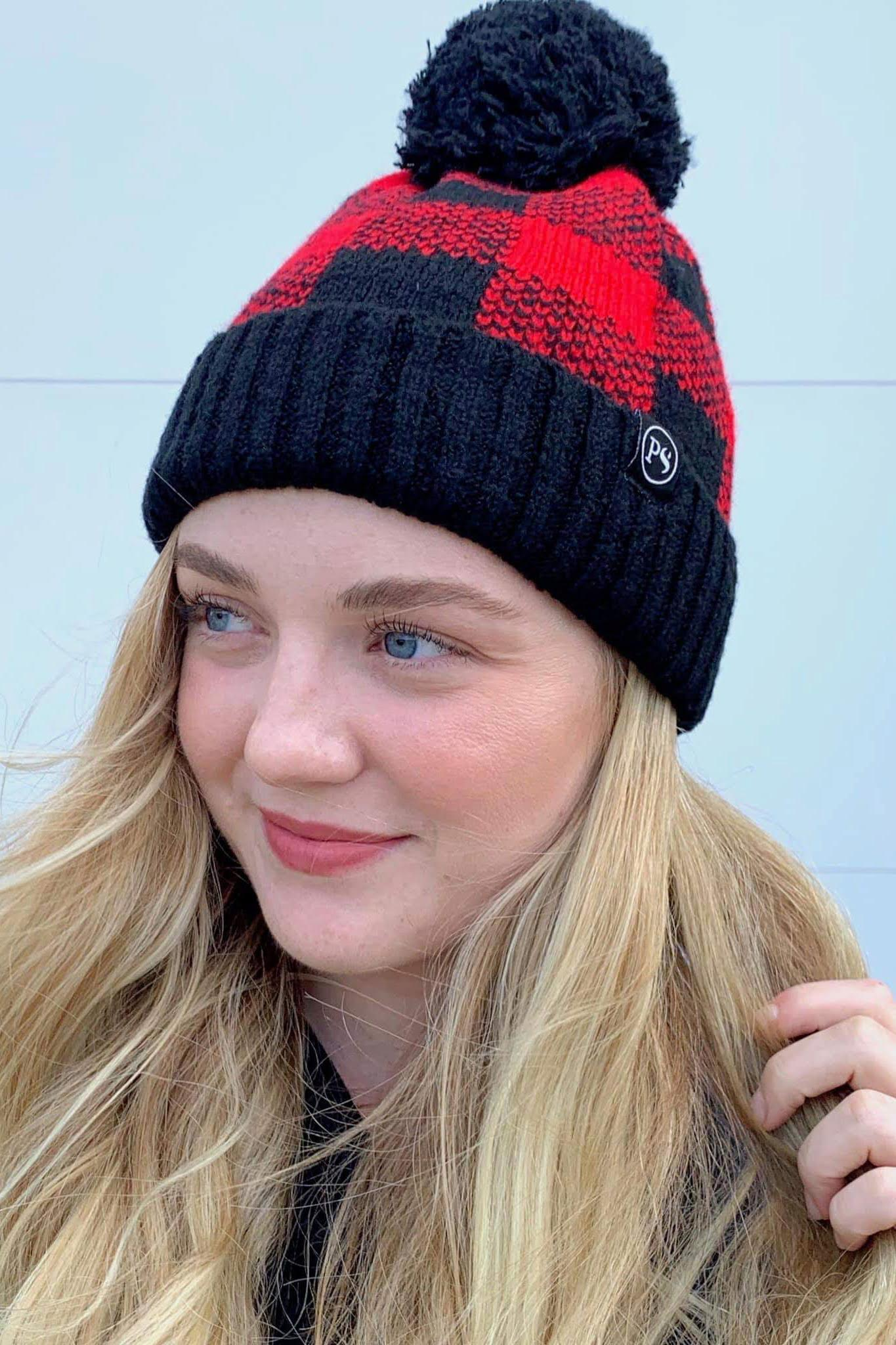Buffalo Black And Red Pom Beanie