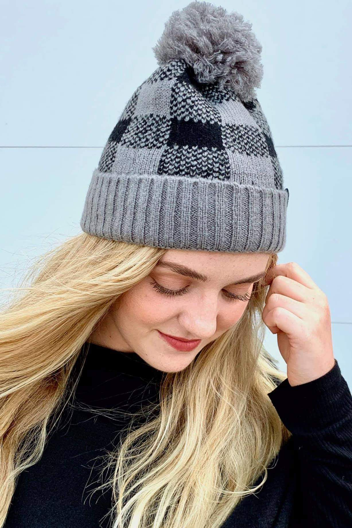 Buffalo Black And Grey Pom Beanie