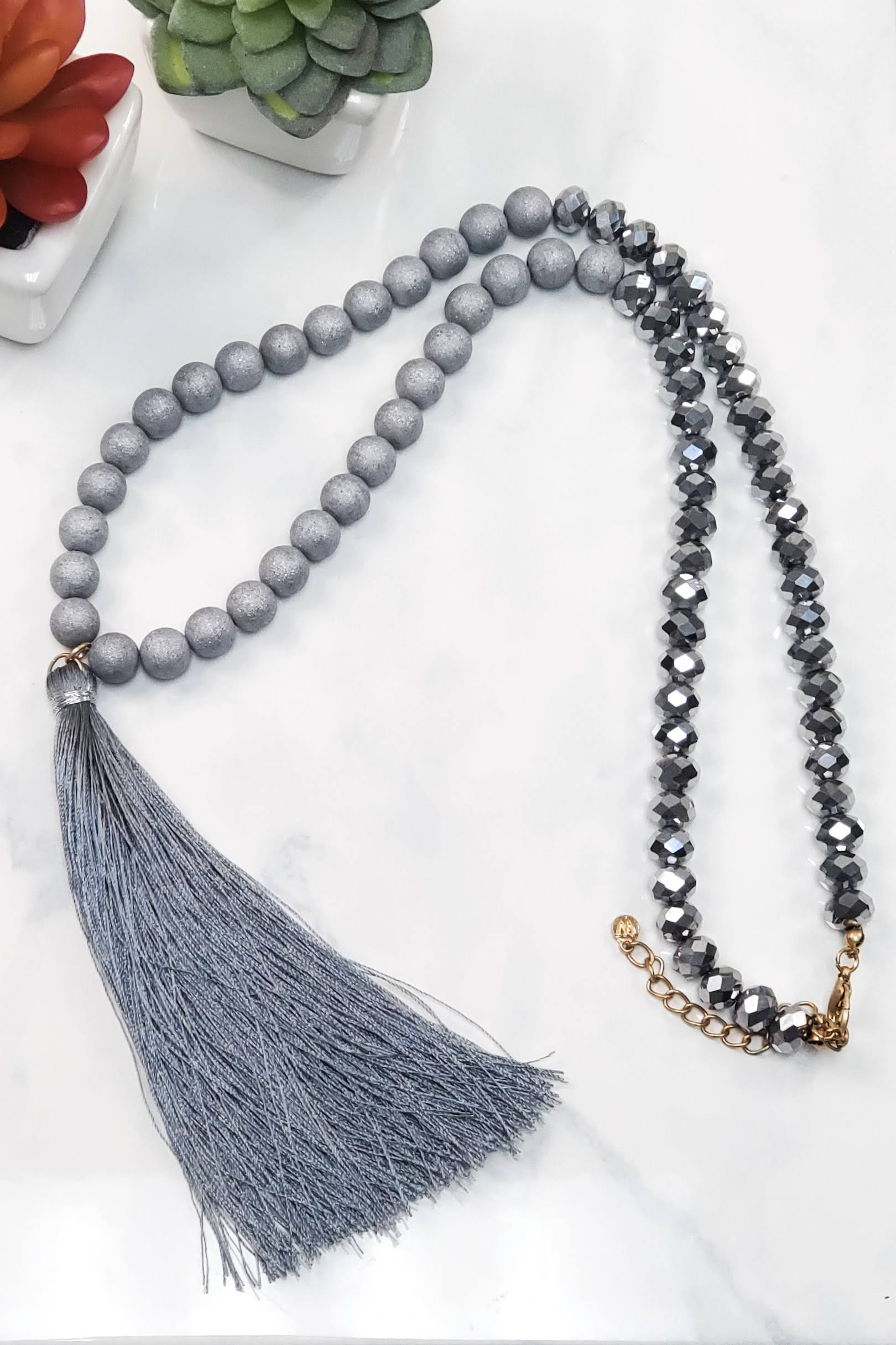 Beaded Silver Tassel Necklace WN-0560