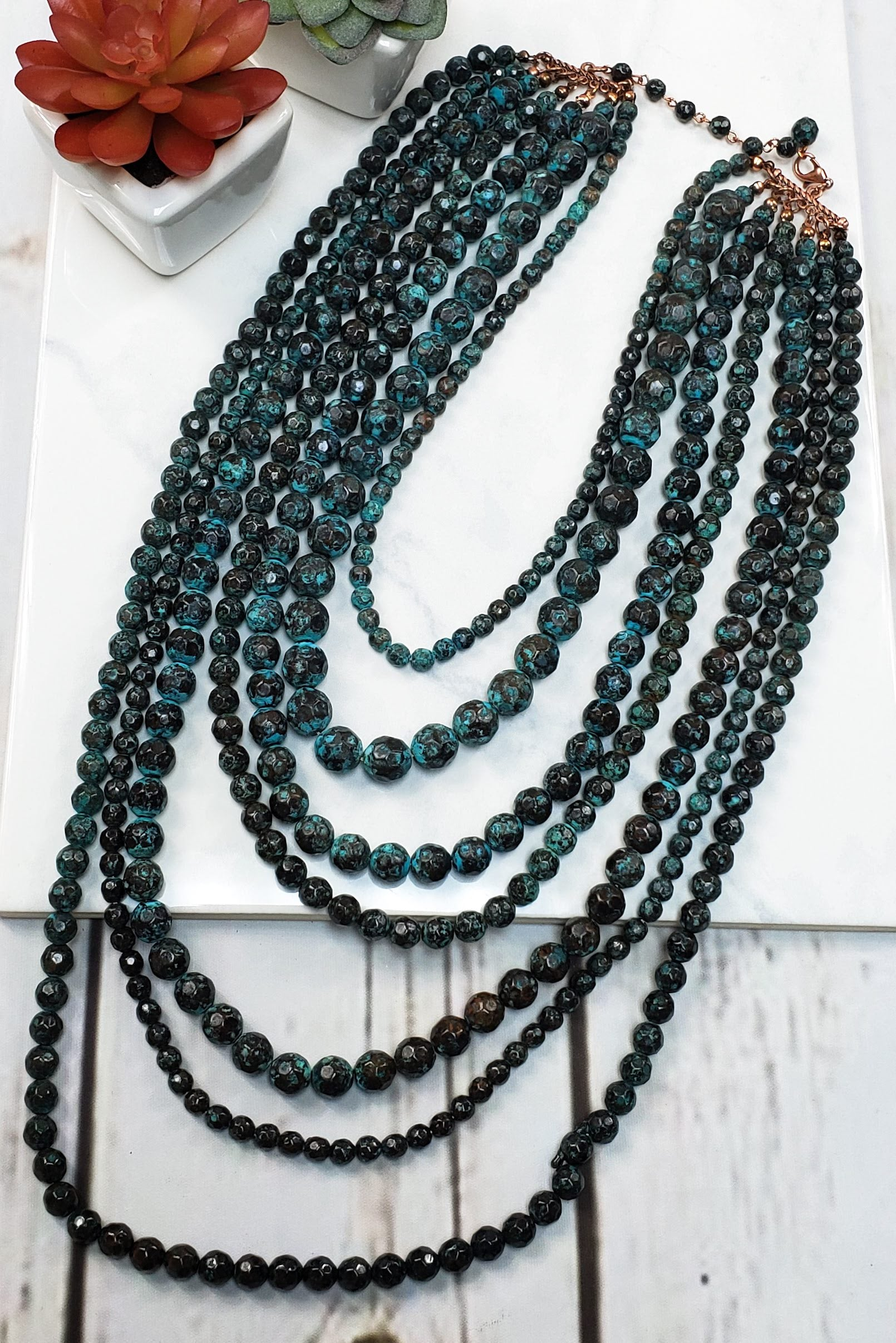 Multi Stand Patina Beaded Necklace CS-1766