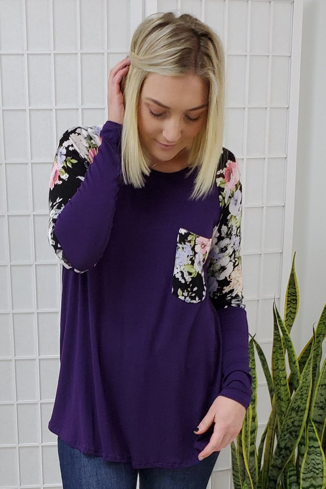 Bailey Eggplant Floral Top