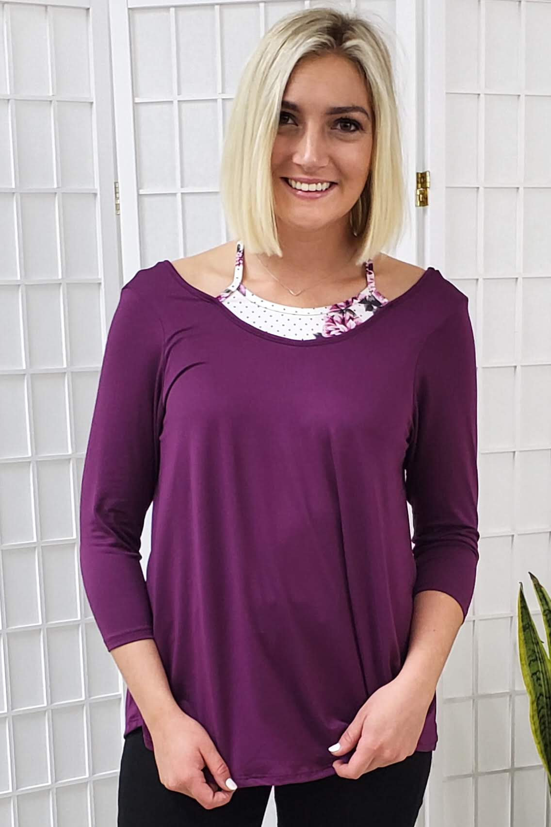 Lyndi Plum Floral Detail Top