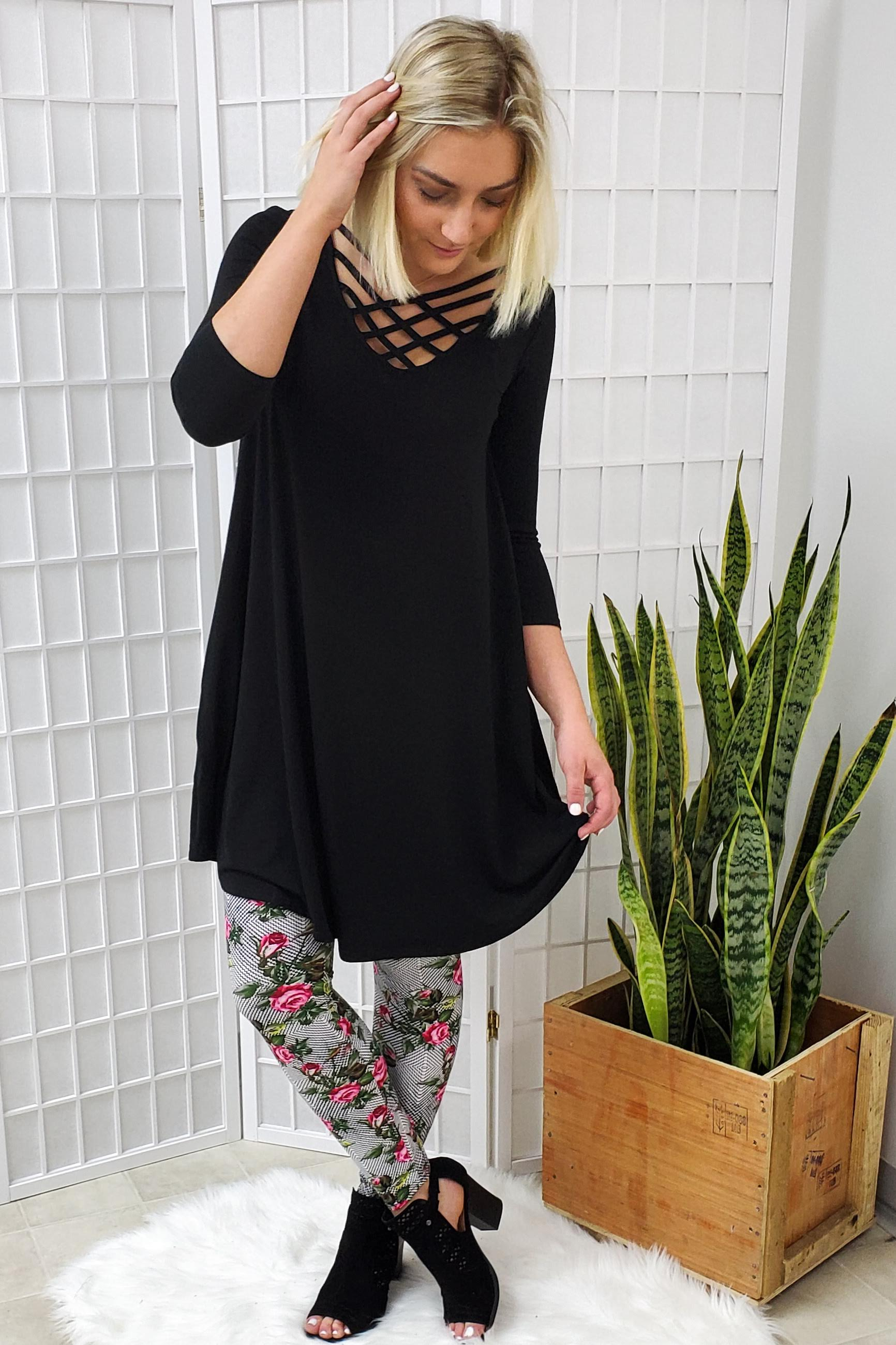 Raven Black Lattice 3/4 Sleeve Dress