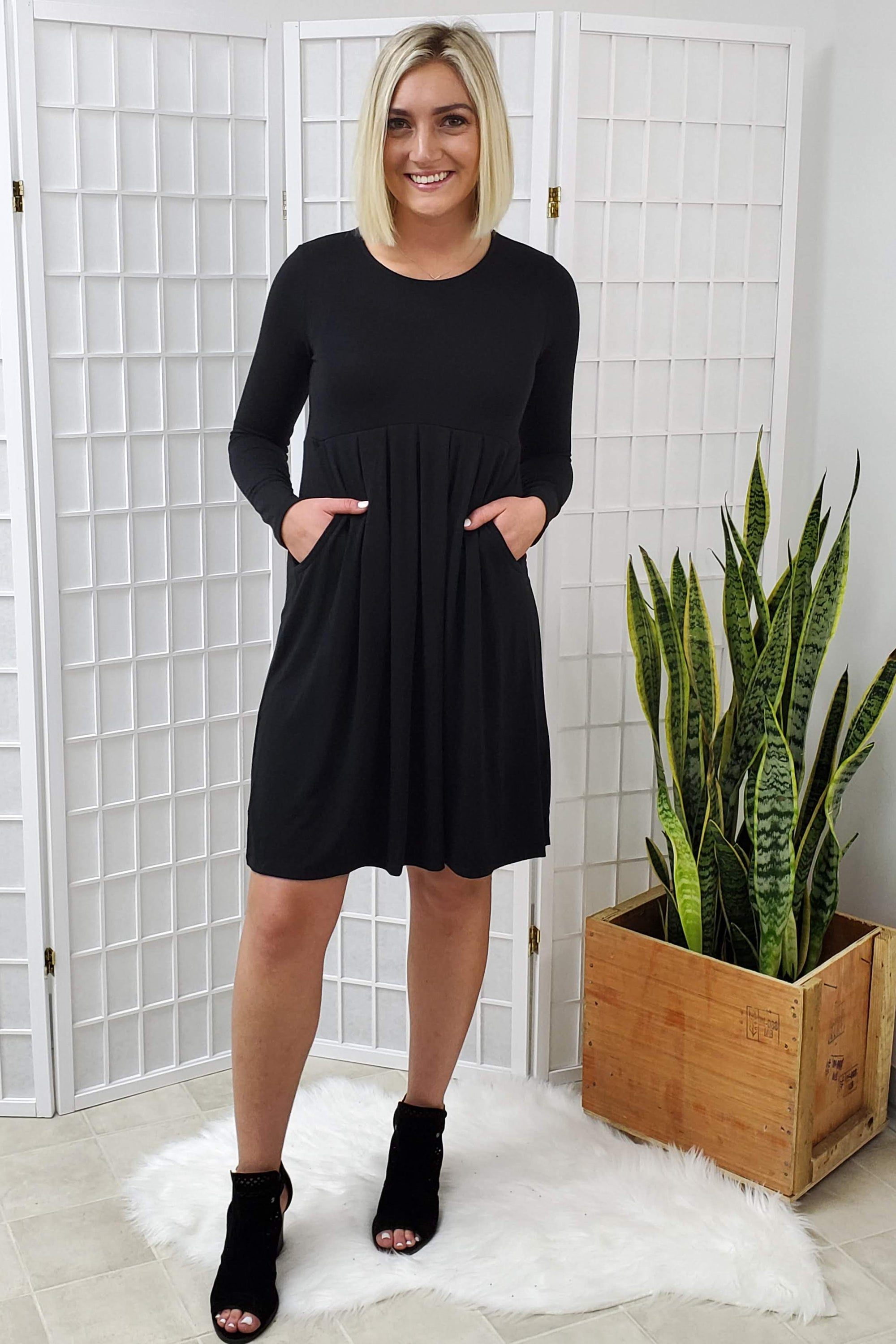 Toni Black Pleated Dress