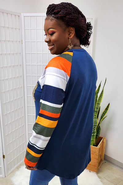 Trixie Navy Striped Sleeve Top