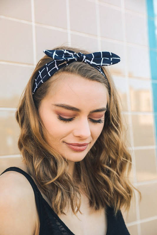 Navy Grid Tied Bow Headband