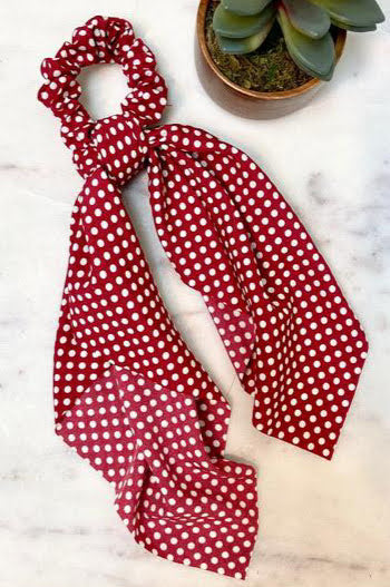 Polka Dot Red Scarf Scrunchie