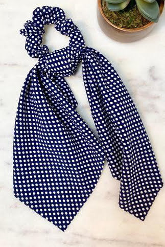 Polka Dot Navy Scarf Scrunchie