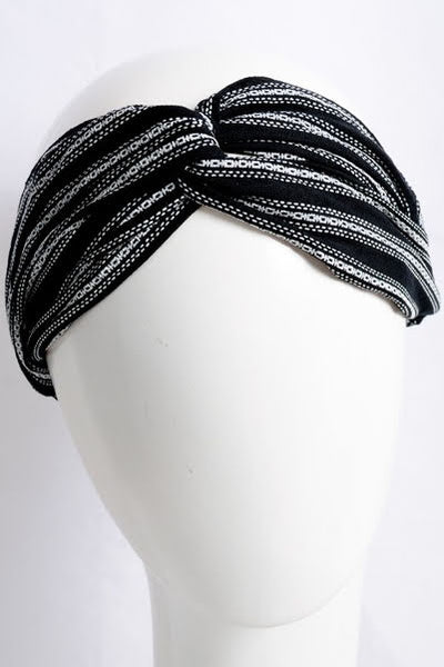 Striped Black Knotted Headband