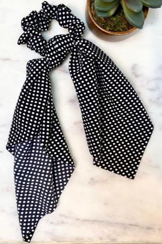 Polka Dot Black Scarf Scrunchie