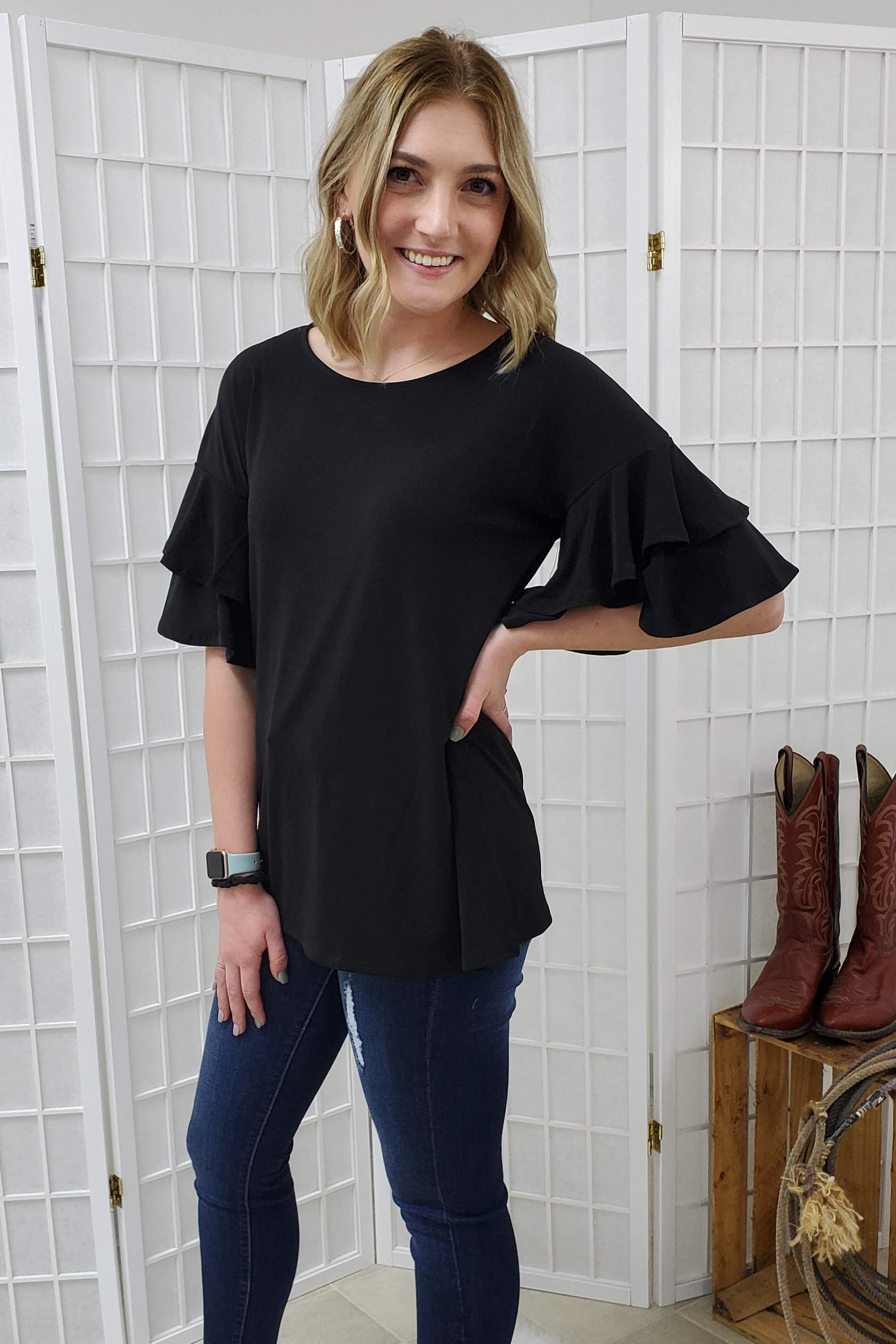 Brianna Black Ruffle Sleeve Top