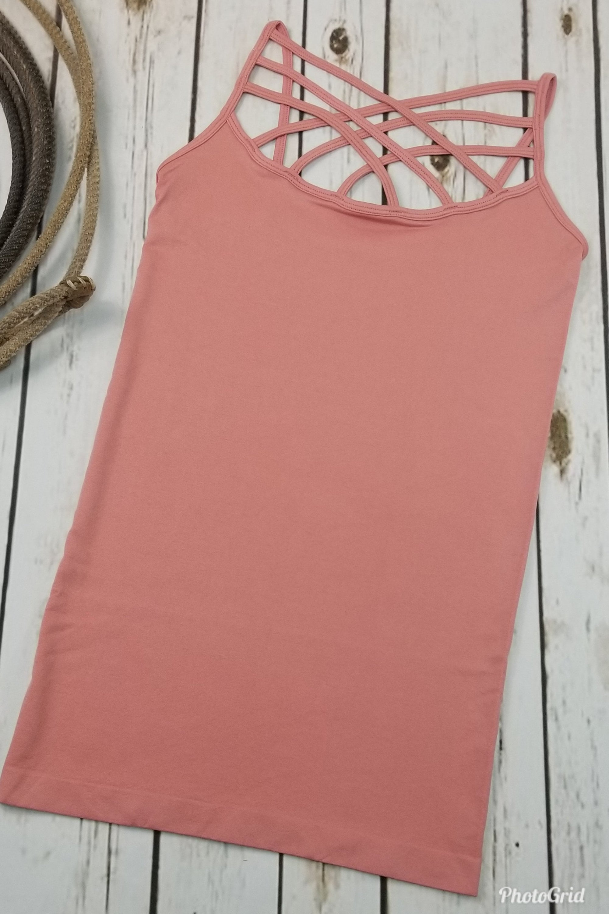 Louise Dusty Rose Round-Neck Criss-Cross Cami (Item #60)