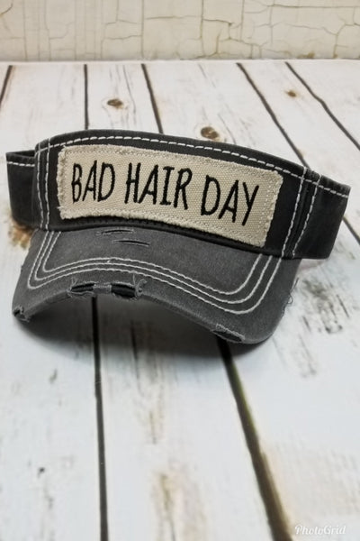 Bad Hair Day Black Visor Hat