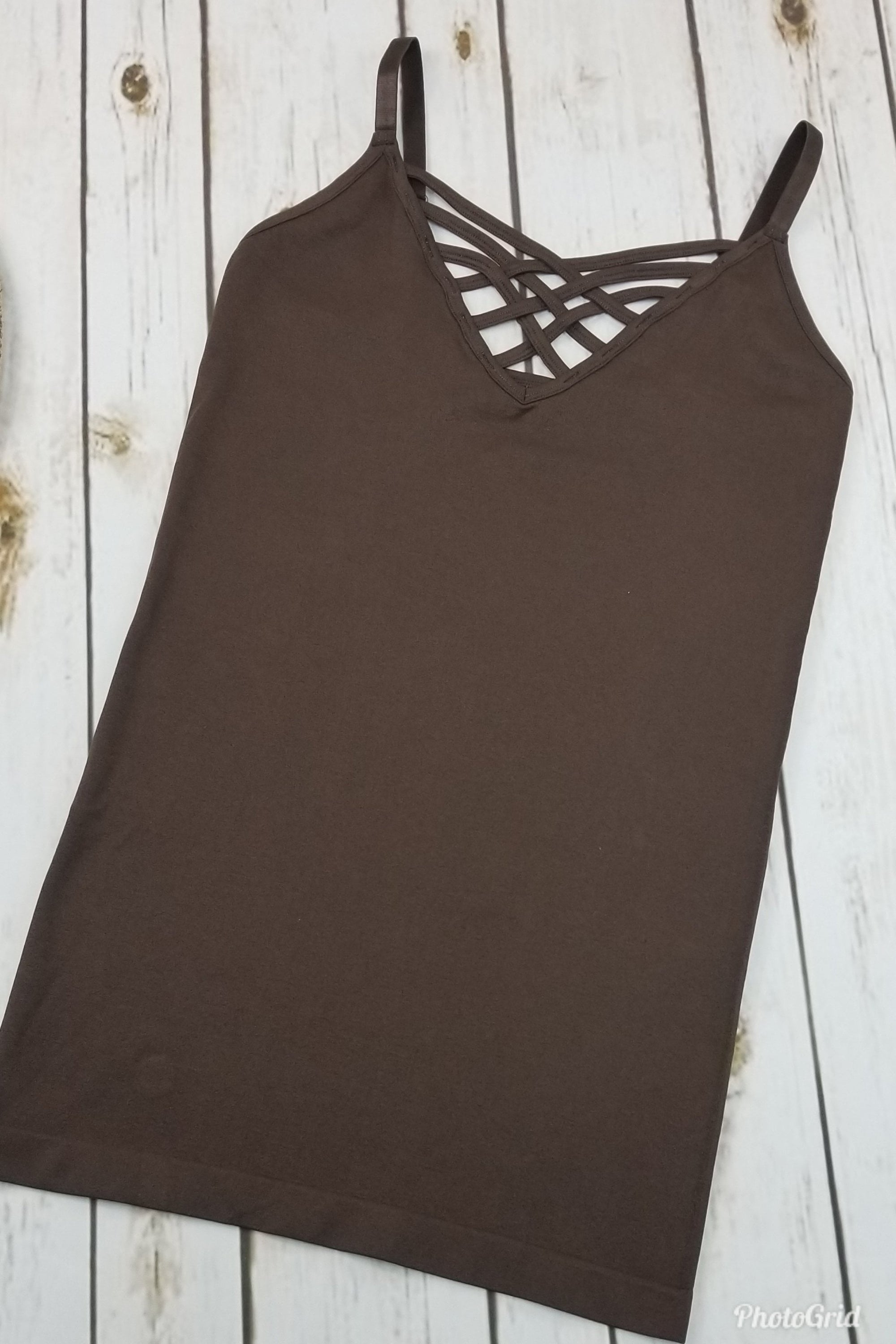 Thelma Brown V-Neck Criss-Cross Cami (Item #51)
