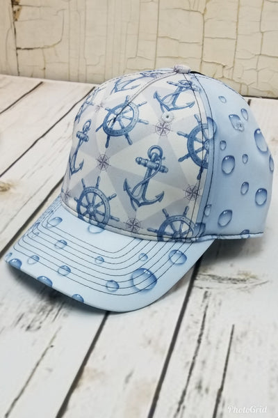 Anchors and Bubbles Messy Bun Ponytail Hat