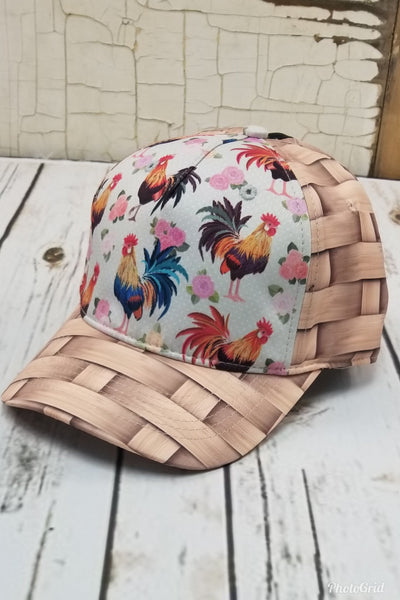 Rooster Basket Messy Bun Ponytail Hat