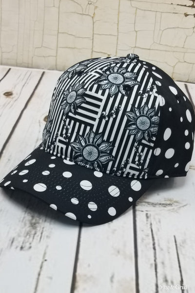 Flower, Stripes, and Dots Messy Bun Ponytail Hat