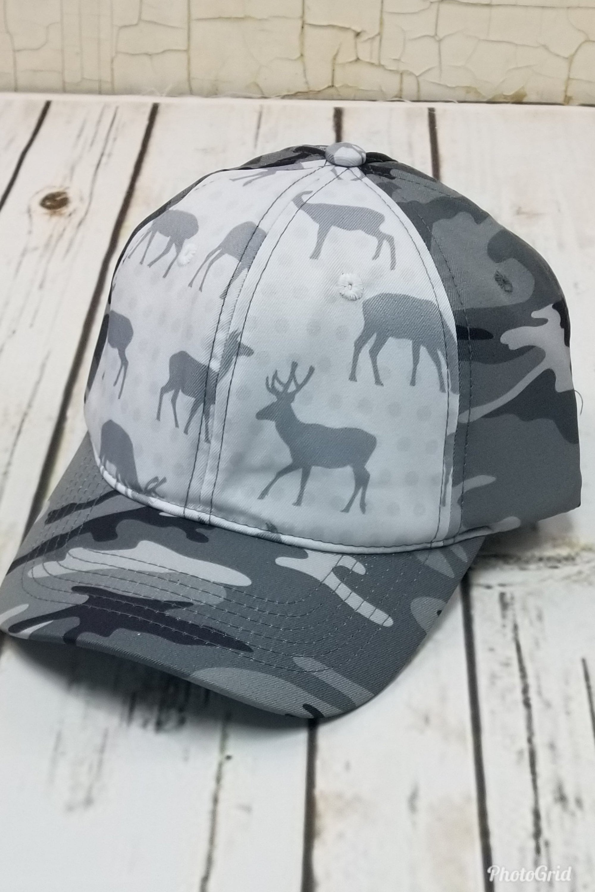 Deer Camo Messy Bun Ponytail Hat