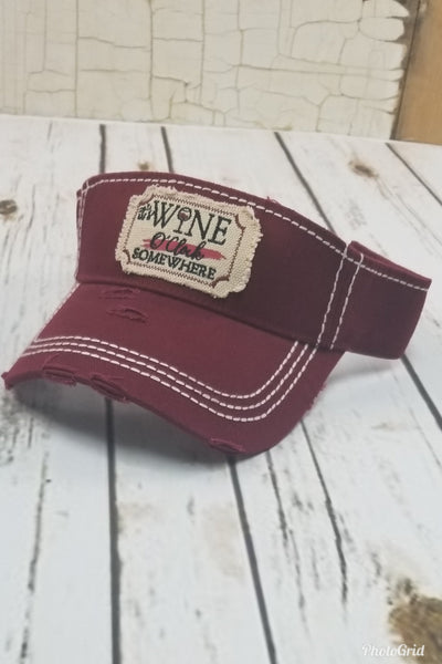 It's Wine O'Clock Somewhere Visor Hat