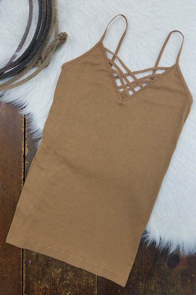 Thelma Coffee V-Neck Criss-Cross Cami (Item #51)