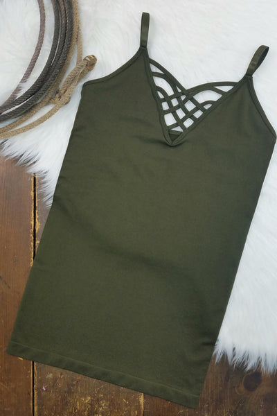 Thelma Dark Olive V-Neck Criss-Cross Cami (Item #51)