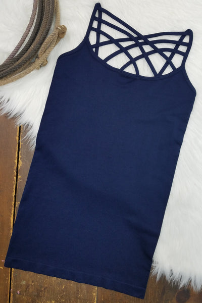 Louise Navy Round-Neck Criss-Cross Cami (Item #60)