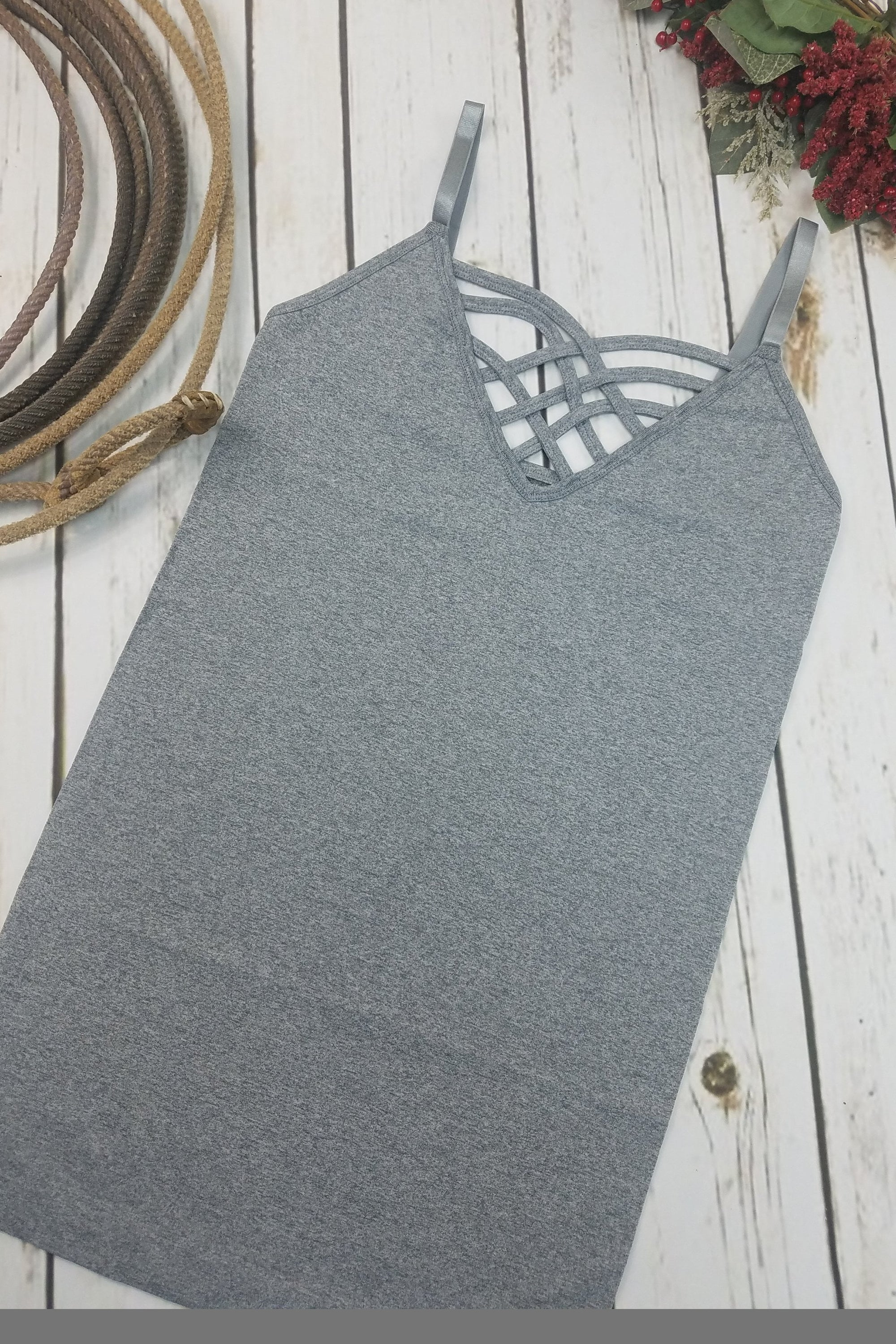 Thelma Heather Gray V-Neck Criss-Cross Cami (Item #51)