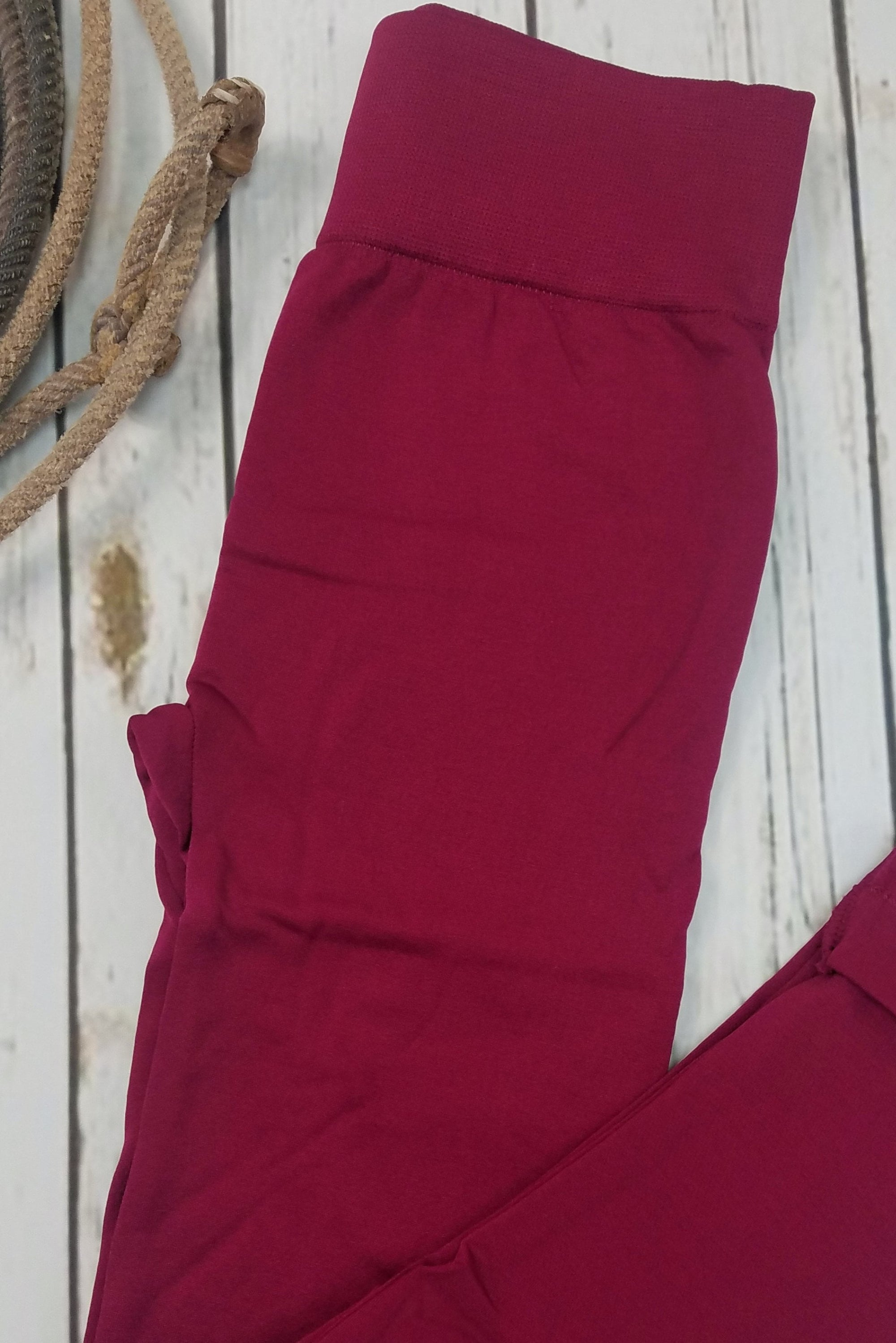 Fleece-Lined Nylon Burgundy Leggings