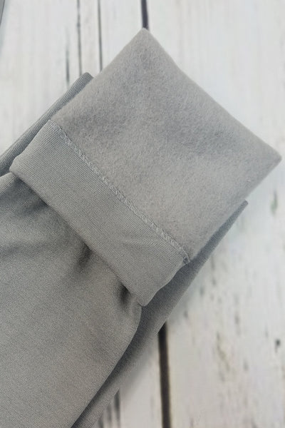 Fleece-Lined Nylon Light Grey Leggings