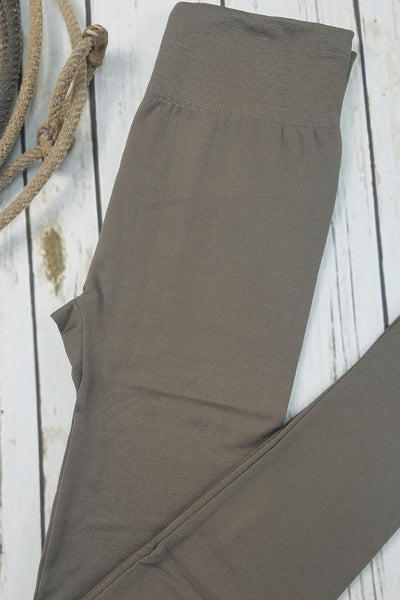 Fleece-Lined Nylon Mocha Stone Leggings