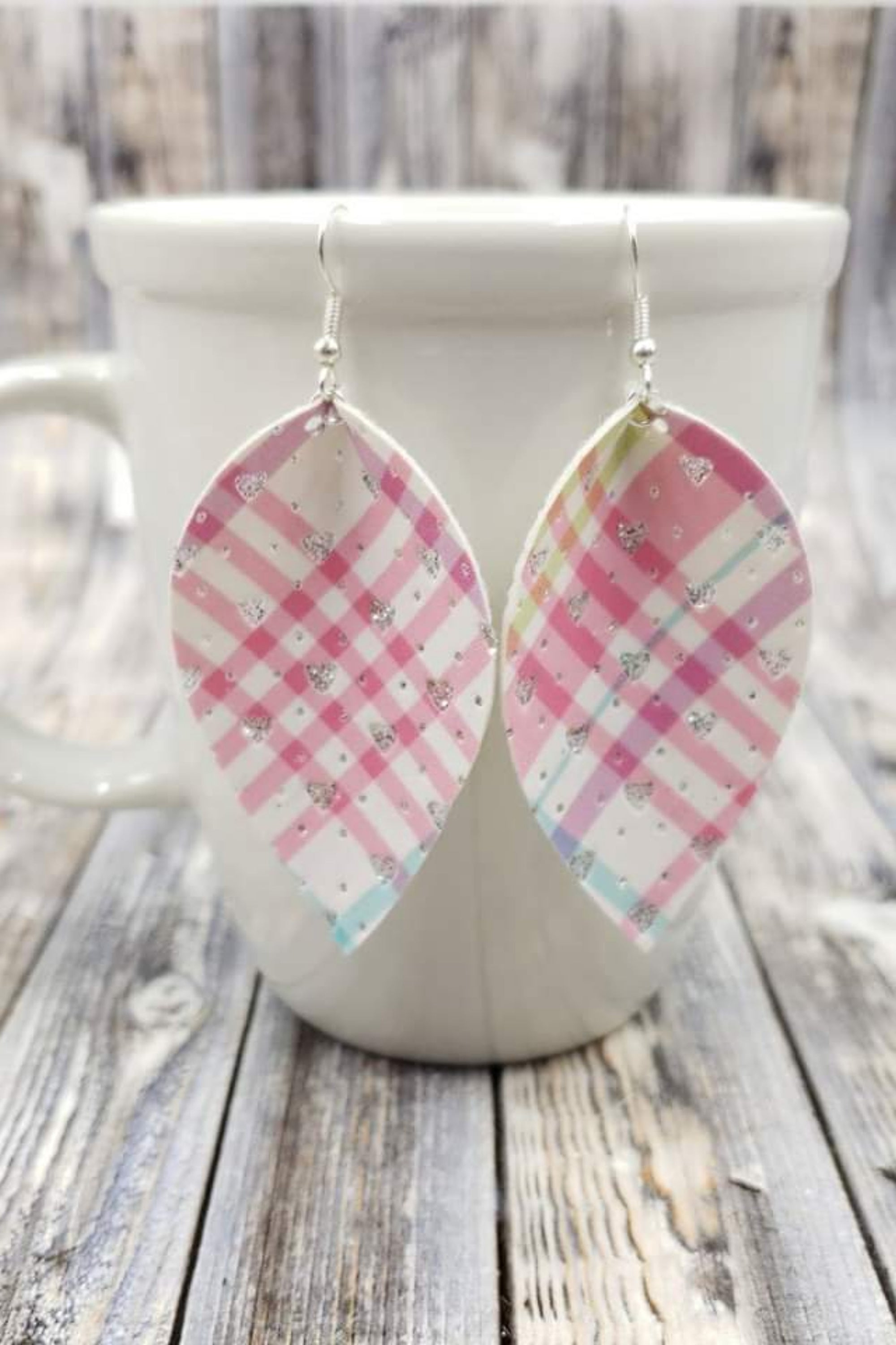 Heart Sparkle Plaid Petal Handcrafted22 Earrings P-009