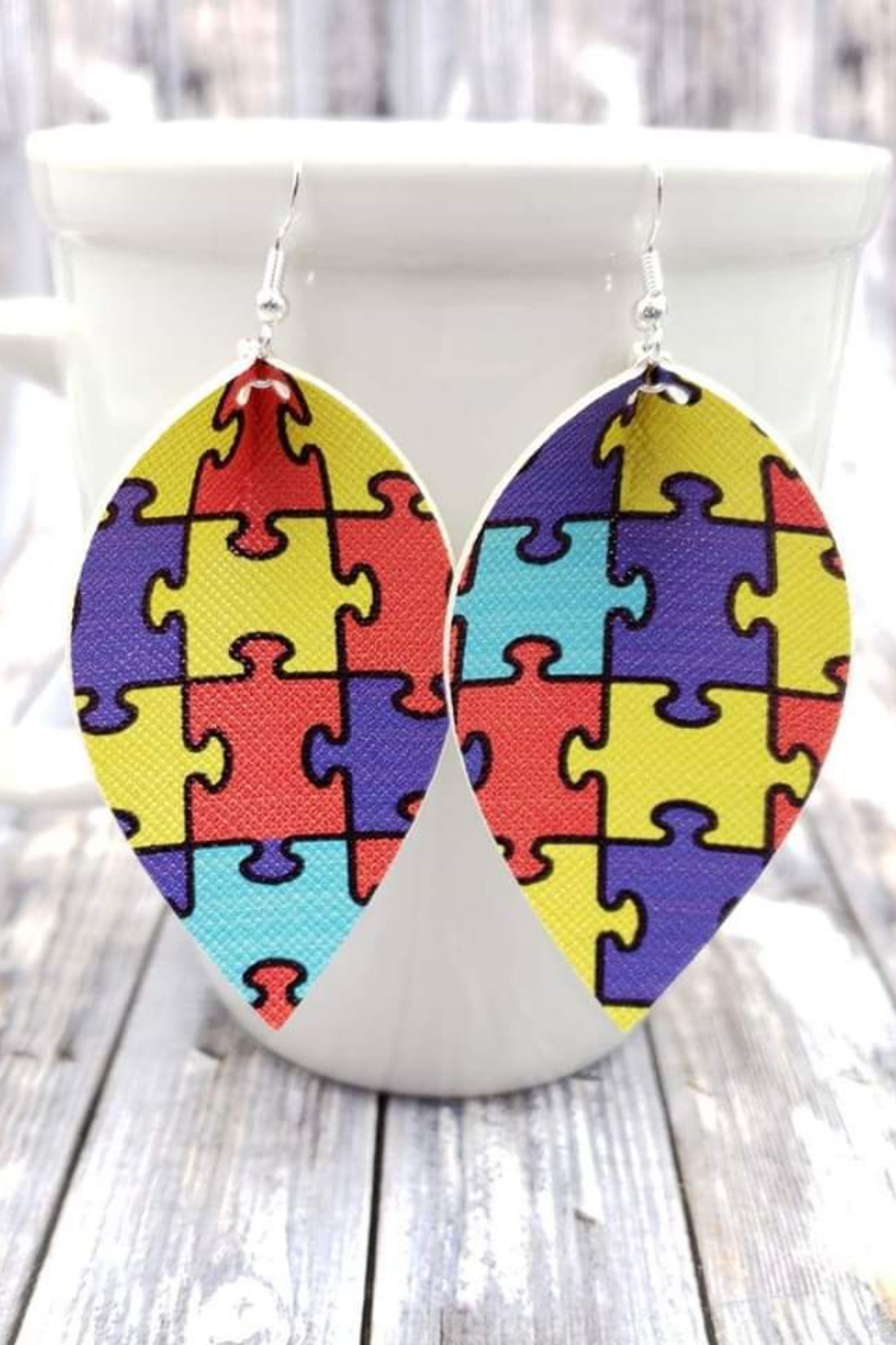 Autism Puzzle Petal Handcrafted22 Earrings P-012