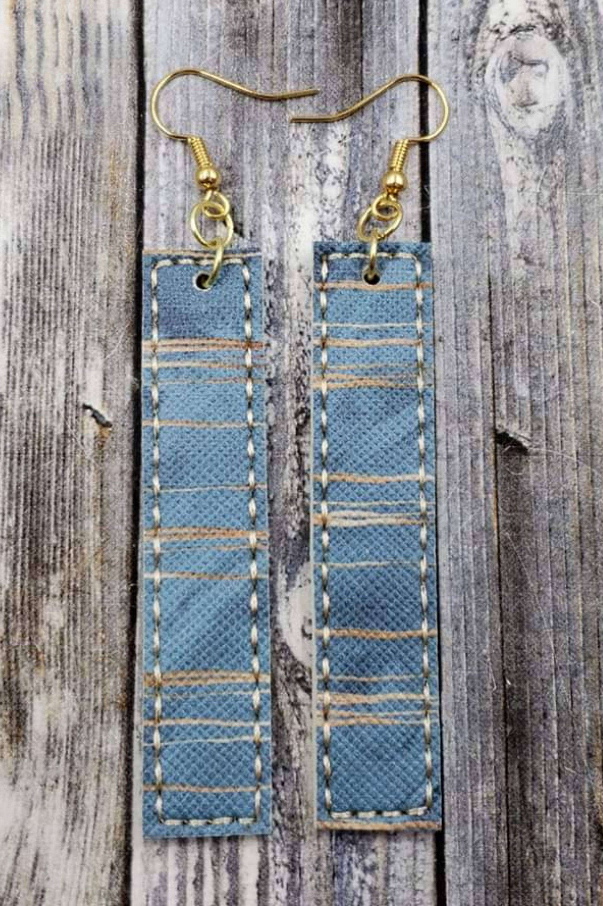 Striped Antique Blue Gold Bar Handcrafted22 Earrings B-214