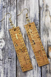 Cork Natural Gold Bar Handcrafted22 Earrings B-210