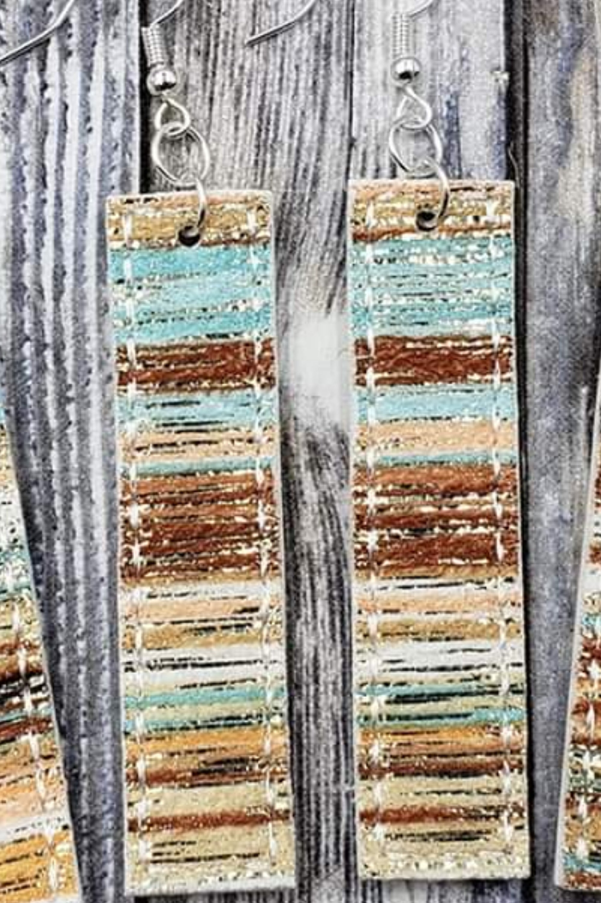 Striped Multi Gold Sparkle Bar Handcrafted22 Earrings B-220