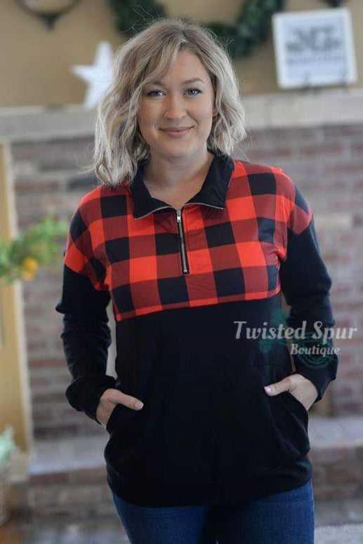 Zoey Buffalo Plaid Pullover Jacket