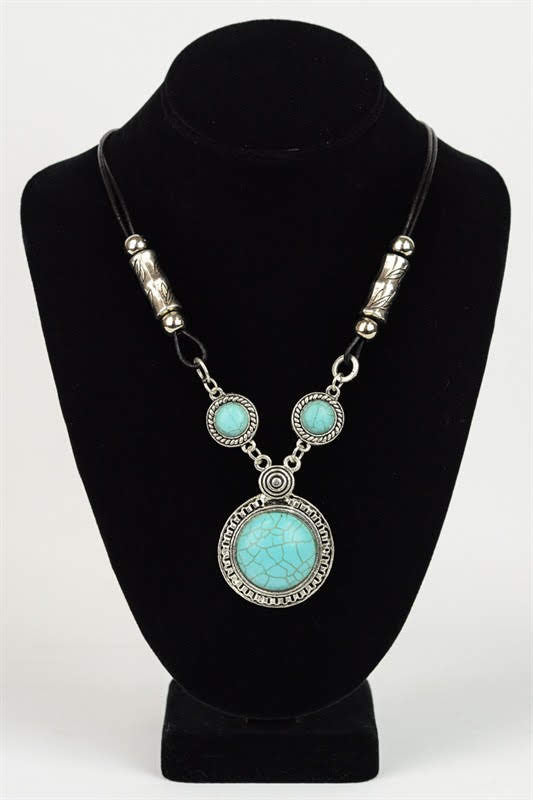Triple Turquoise Pendant Necklace YJ-025