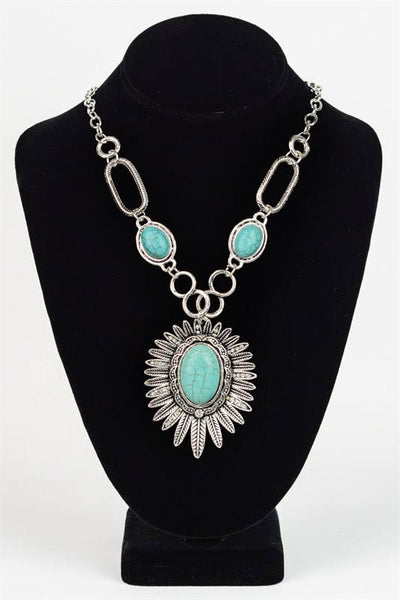 Sunflower Turquoise Necklace YJ-030