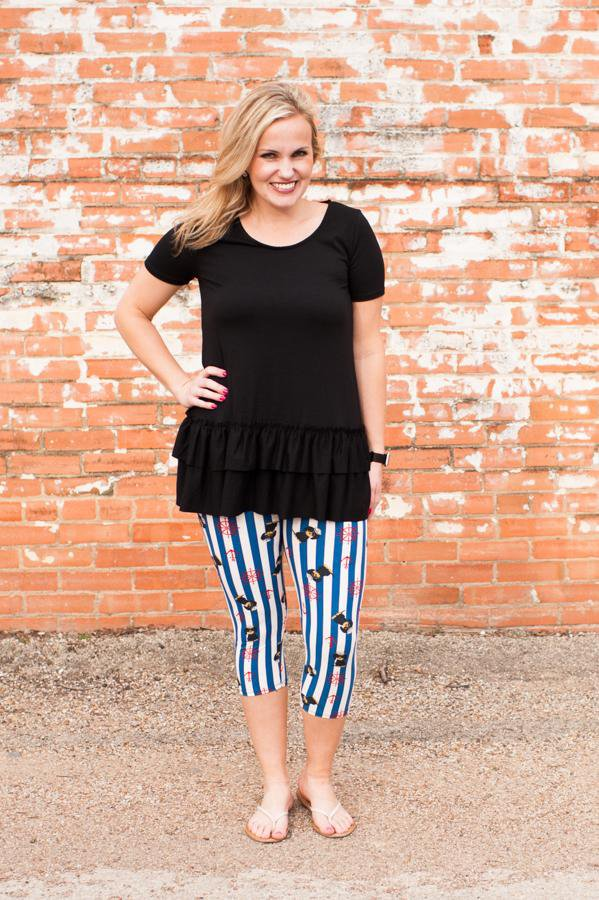 Katelynn Black Ruffle Top