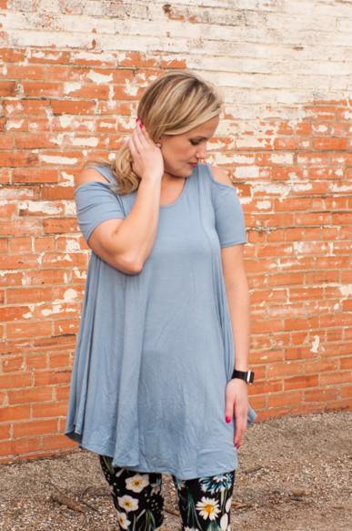 Sterling Cold Shoulder Polo Blue Tunic CLEARANCE