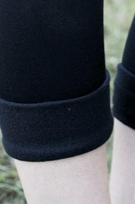 Fleece-Lined Nylon Black Leggings