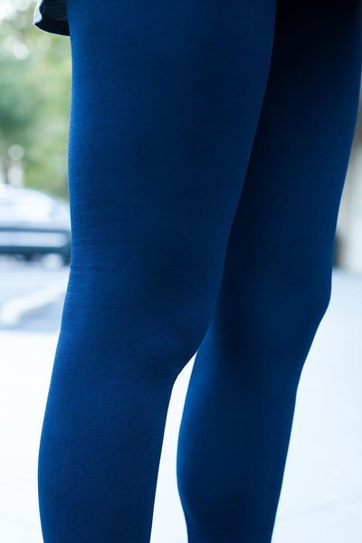 Fleece-Lined Nylon Navy Leggings
