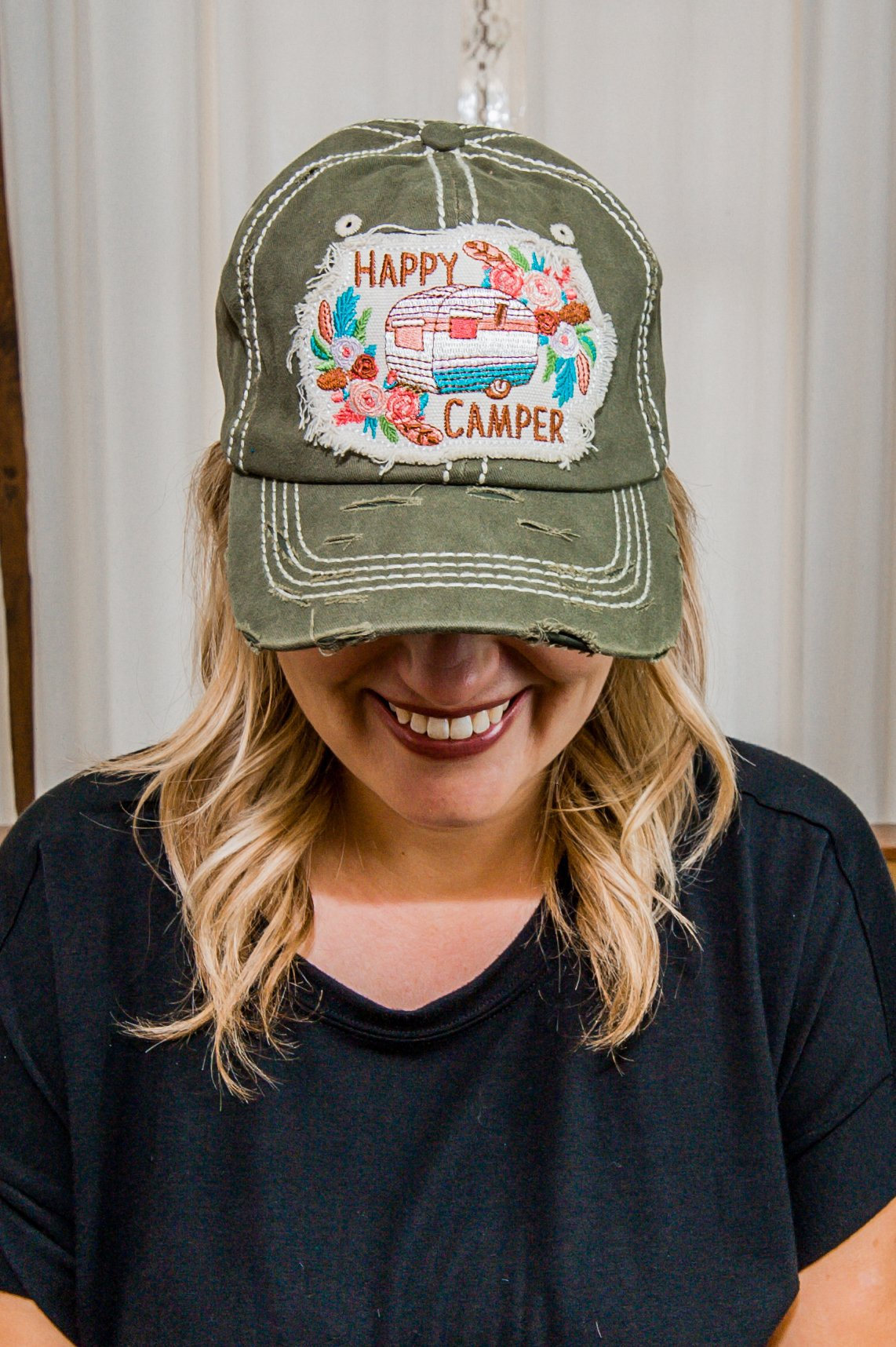 Happy Camper Olive Hat