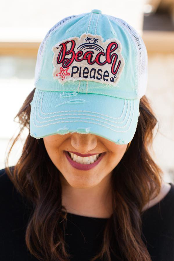 Beach Please Turquoise Hat