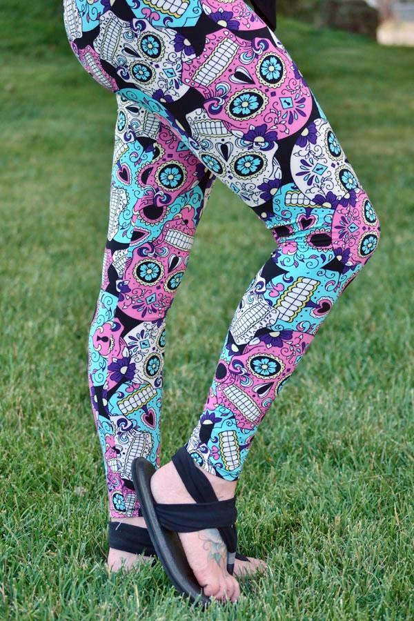 Periwinkle Pink Skull Leggings *LIMITED SPECIALIZED PRINTS*