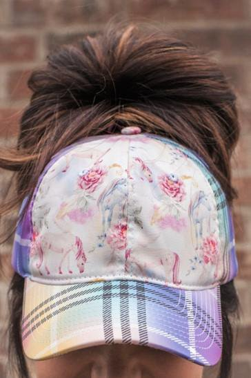 Unicorn Rainbow Plaid Messy Bun Ponytail Hat