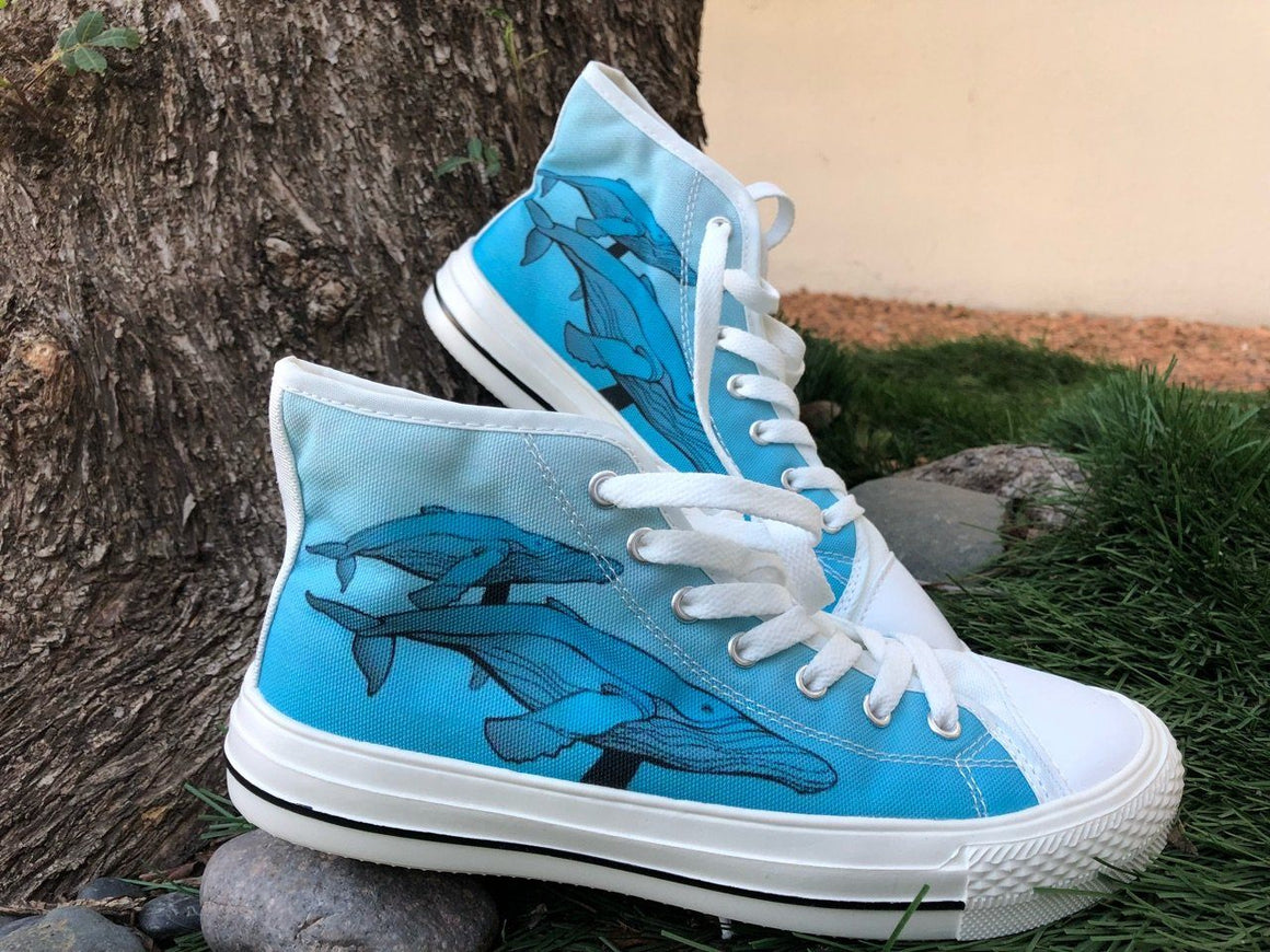 Men's Whale Print White High Tops Shoes