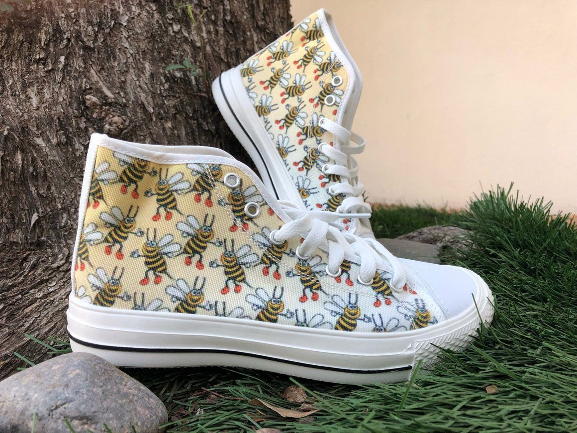 Women's Bee Print White High Tops Shoes