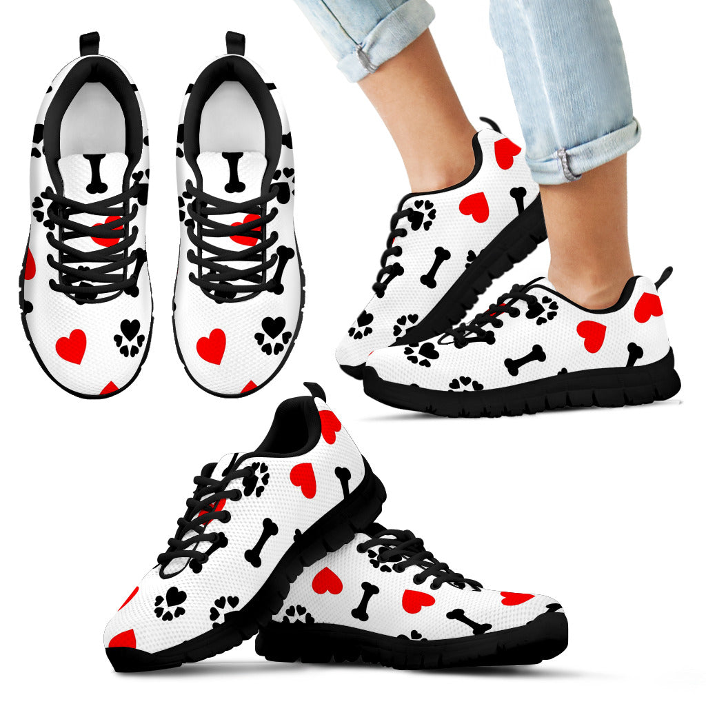 Kid's Dog Love Black Sole Print Sneakers